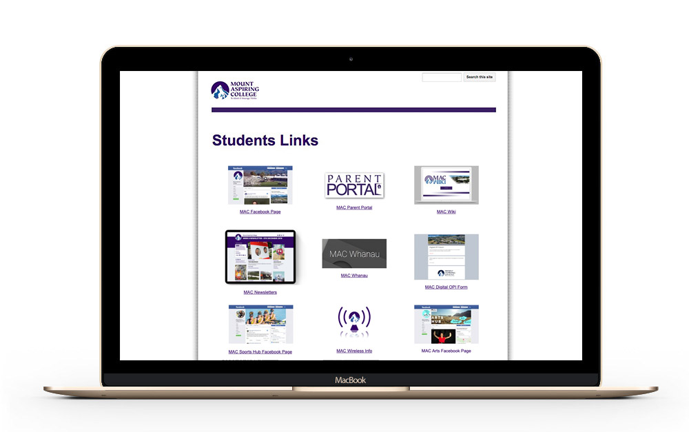 The Student Links page on the MAC Resouces website