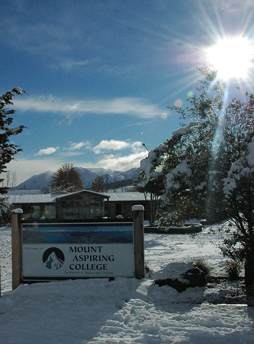 Mount Aspiring College in a rare snowscape.