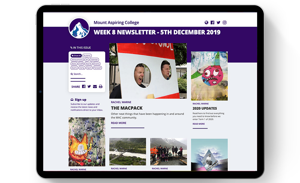 Image of Mount Aspiring College's newsletter on an iPad